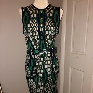Flawless Tory Burch Green and Blue Belted Dress